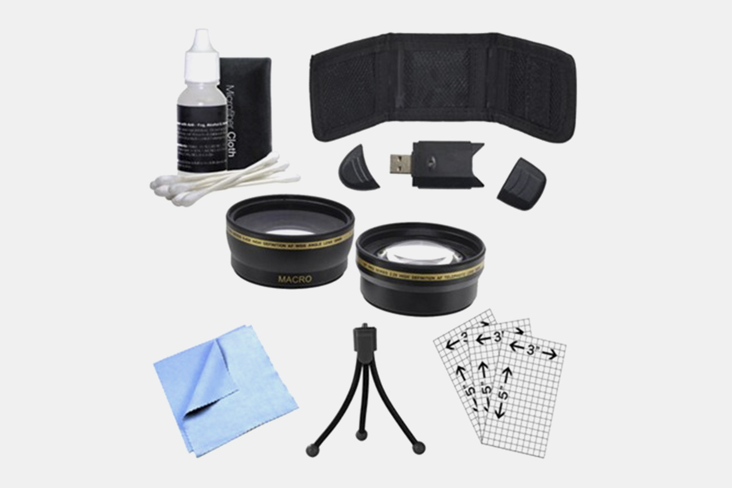 General Brand 58mm Wide Angle & Telephoto Lens, Cleaning Kit, Memory Card Wallet and More