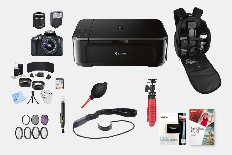 Canon T6 DSLR Bundle w/ 18–55mm, Printer & More