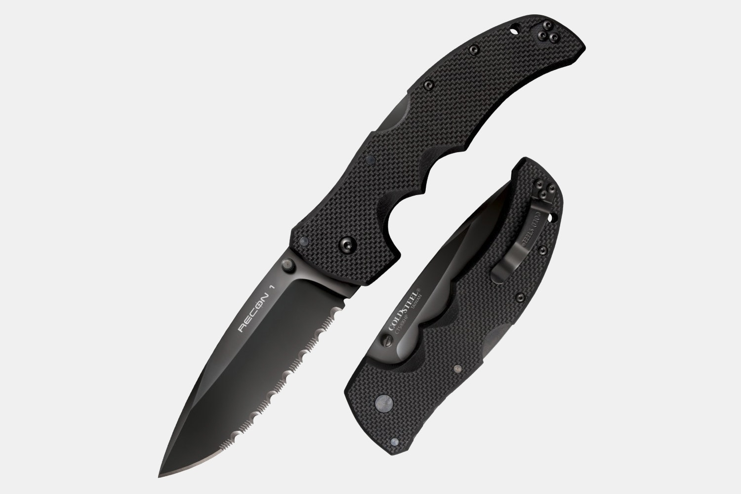 Spear-Point Serrated (Black Handle)
