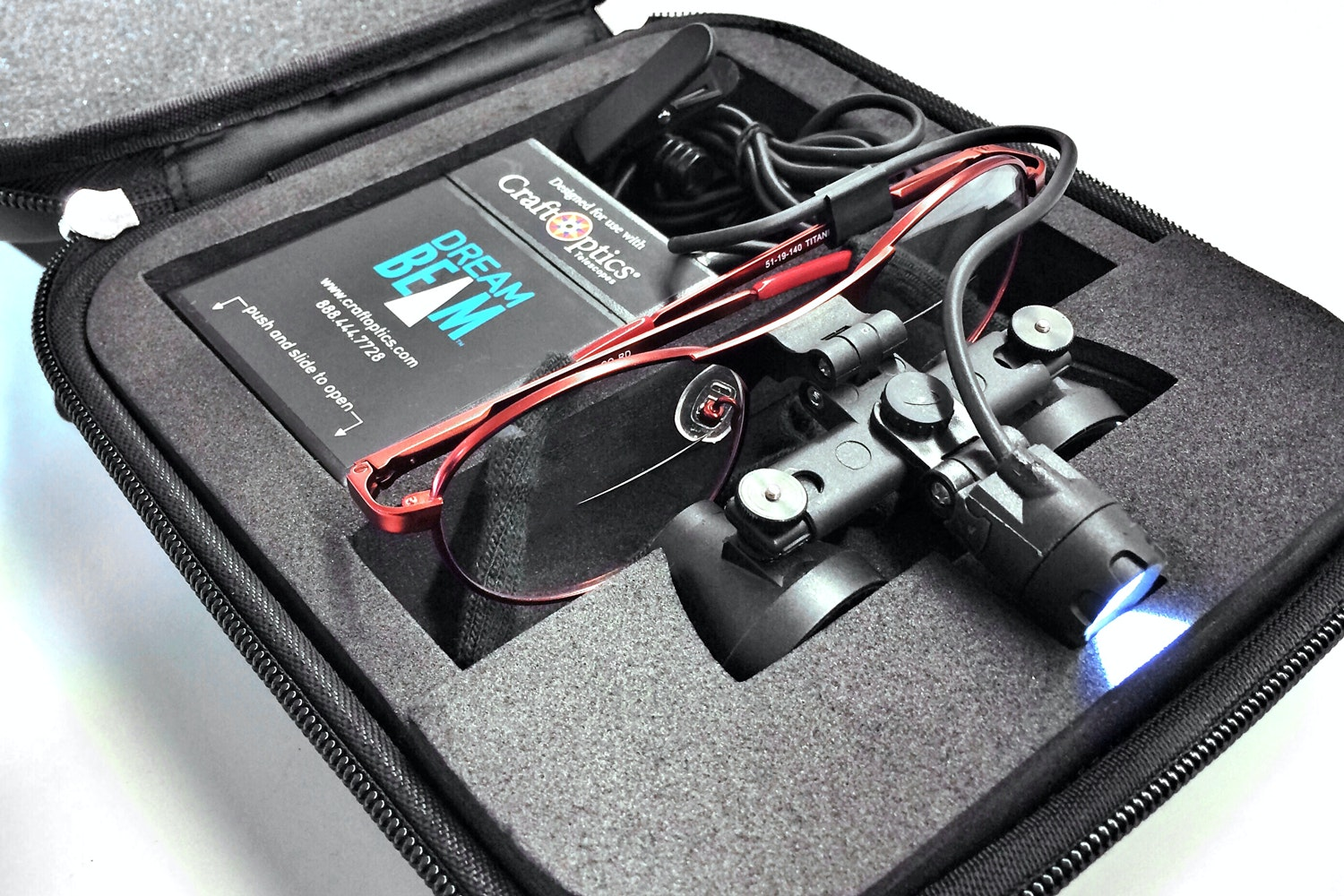 Large case included when purchasing both glasses and light