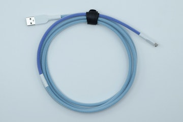 Dual Blue Paracord w/ Clear Techflex (White heatshrink)