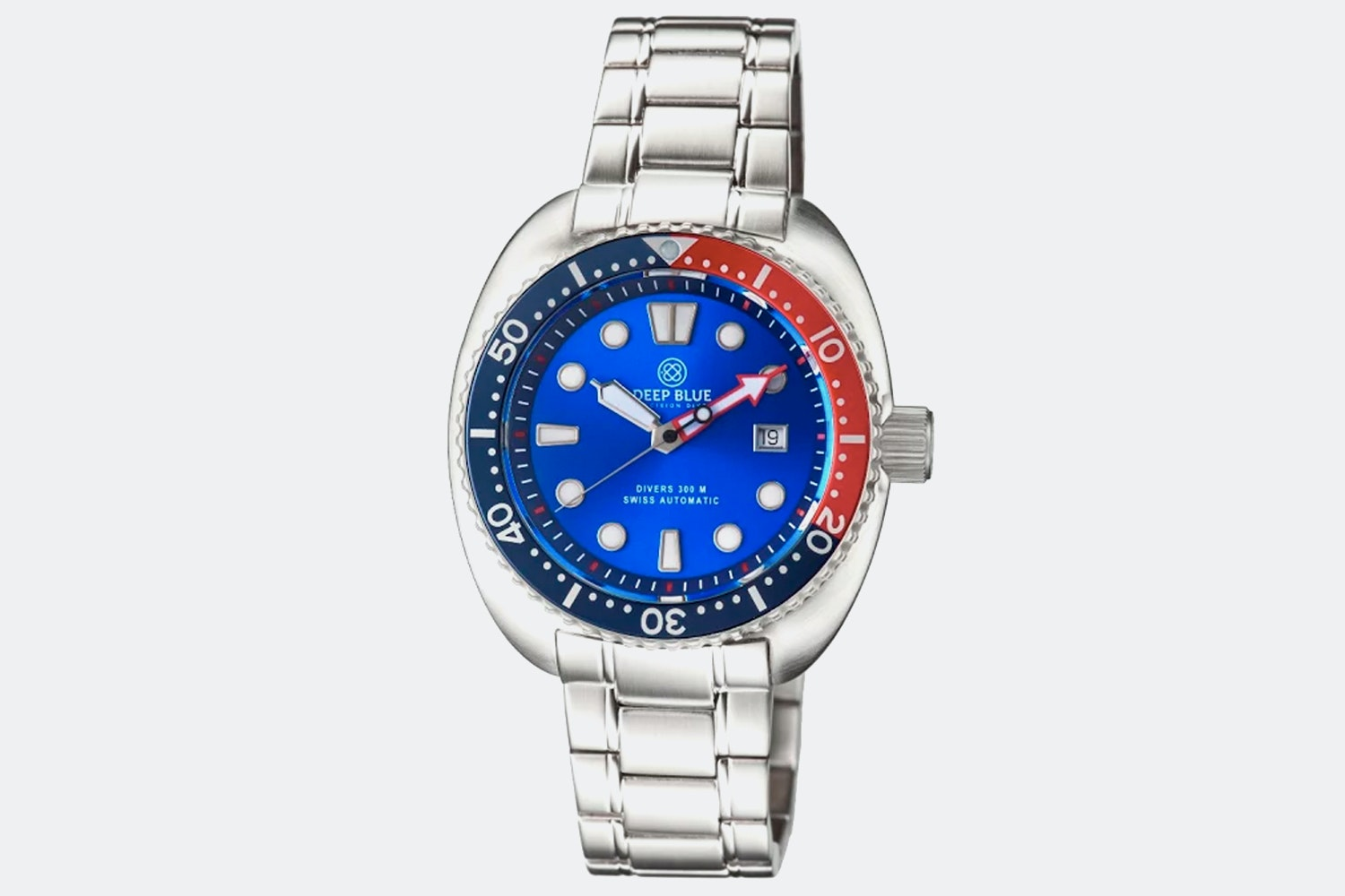 Stainless Steel Case, Blue Dial, Blue & Red Bezel