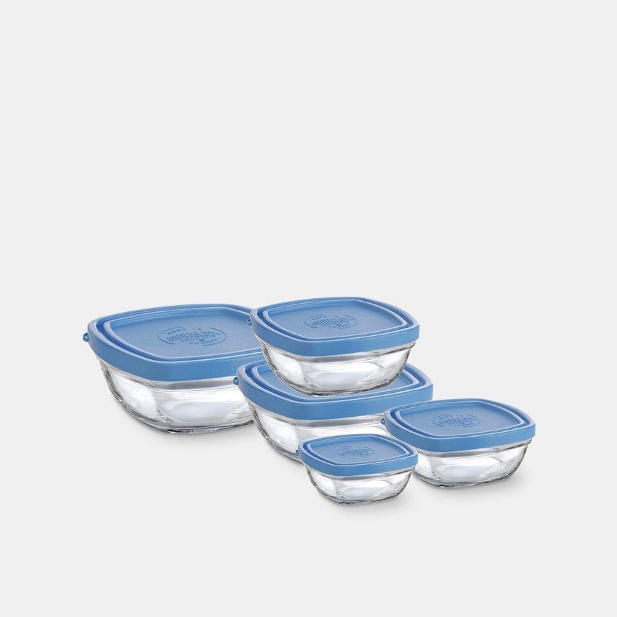 Duralex LYS Stackable Square Bowls With Lids