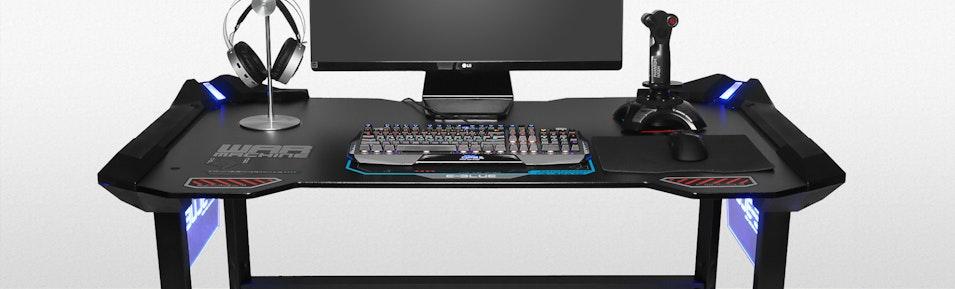 e blue led gaming desk price reviews massdrop. Black Bedroom Furniture Sets. Home Design Ideas