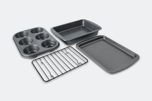 4 PC Toaster Oven Bakeware Set - Cookie Sheet, Cup Cake Pan, Cake Pan, Cooling Rack