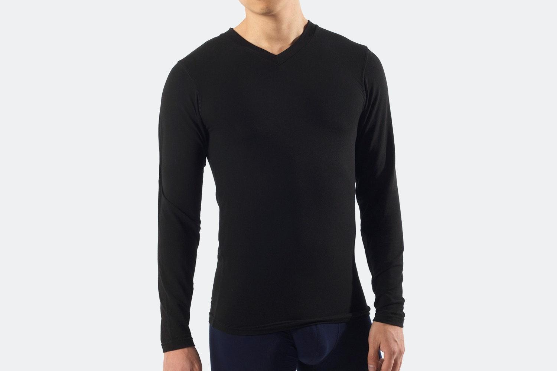 V-Neck Long Sleeve - M - Black