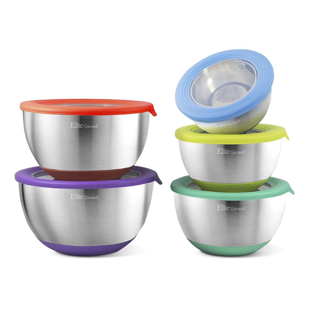 Elite Gourmet 10-Piece Mixing Bowl Set w/ Lids