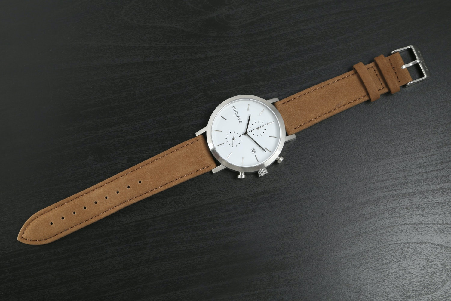 Silver Case with Brown Suede Strap