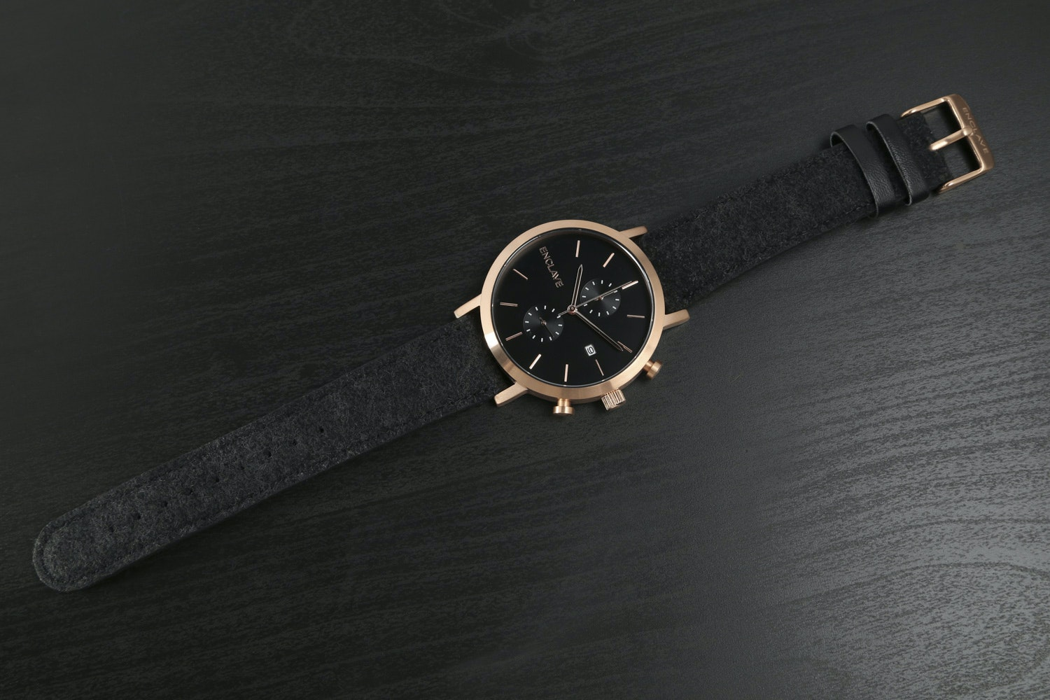 Rose Gold Case with Black Tweed Strap