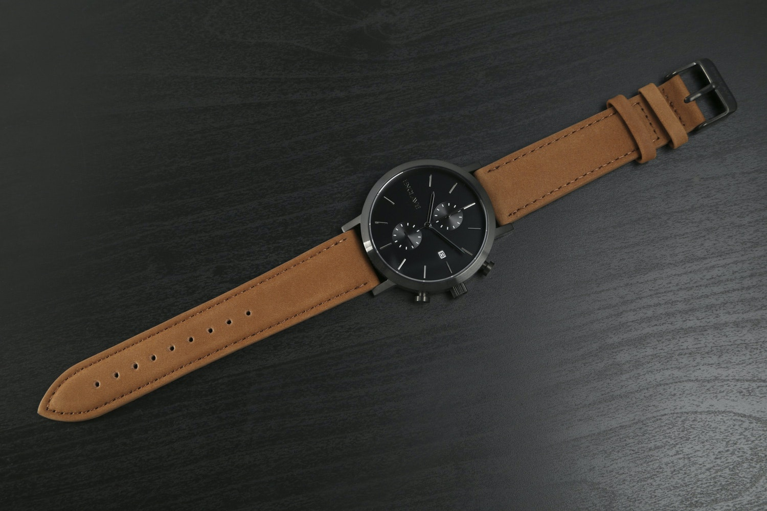 Gunmetal Case with Brown Suede Strap