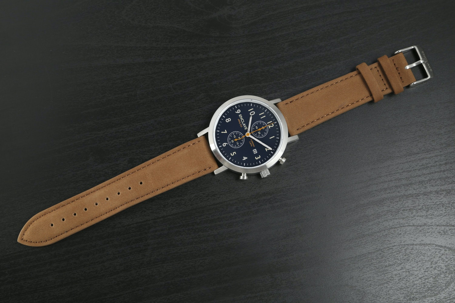 Blue Dial with Brown Suede Strap