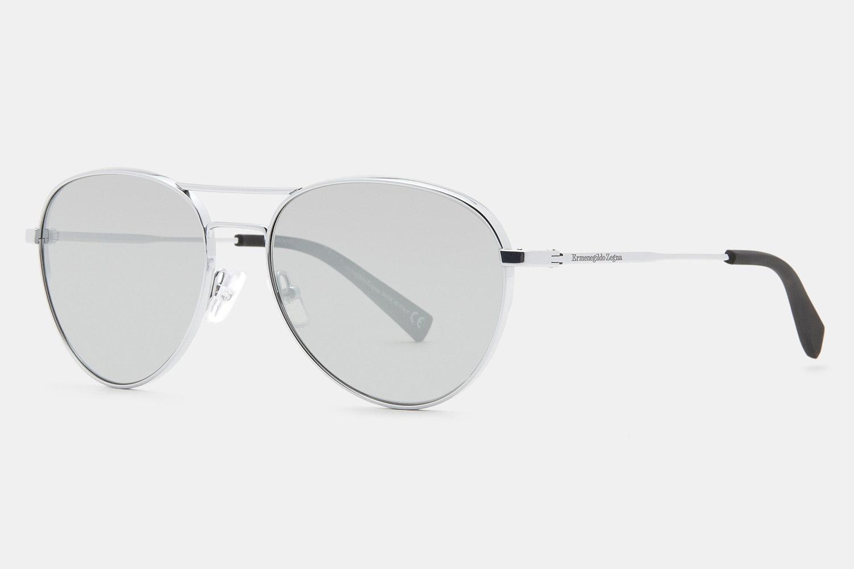 0098 Titanium Sunglasses - Shiny Rhodium - Silver Flash/Barberini Tempered Glass