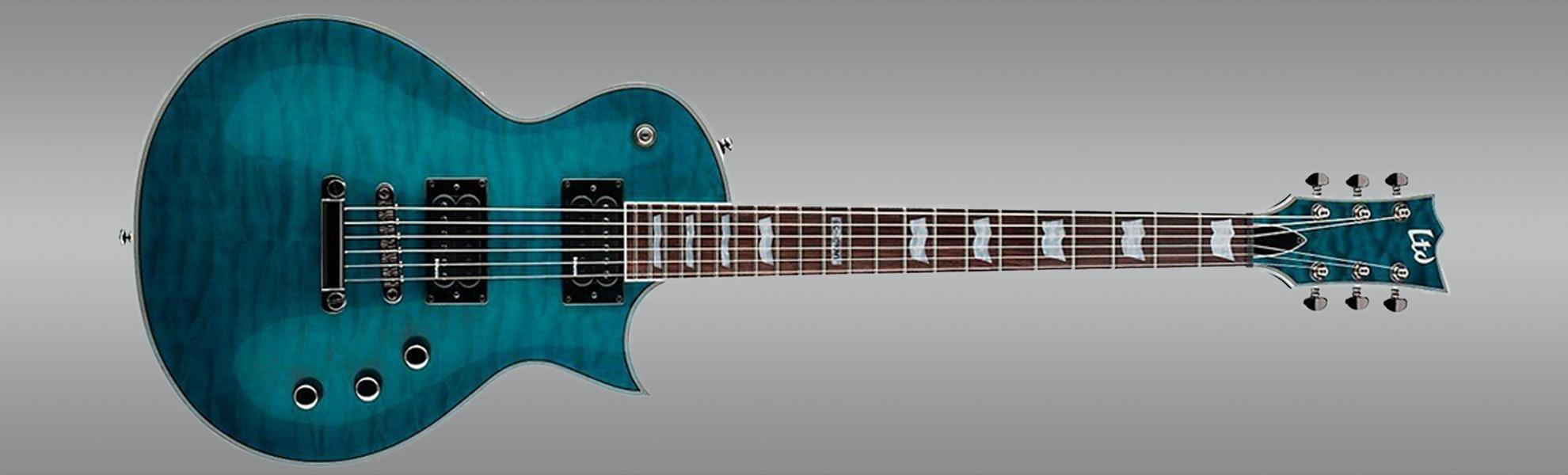 ESP LTD EC-401QMV See-Through Aqua Guitar