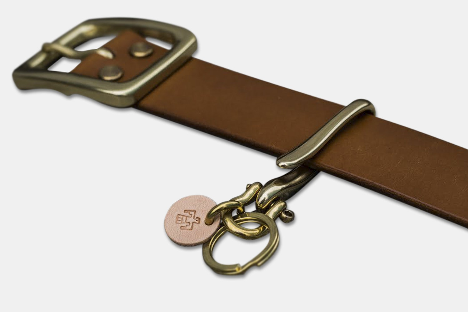 Eternal Leather Solid Brass Fish Hook Keychain