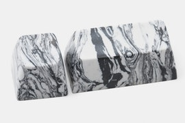 White With Black Marble-Style Swirl