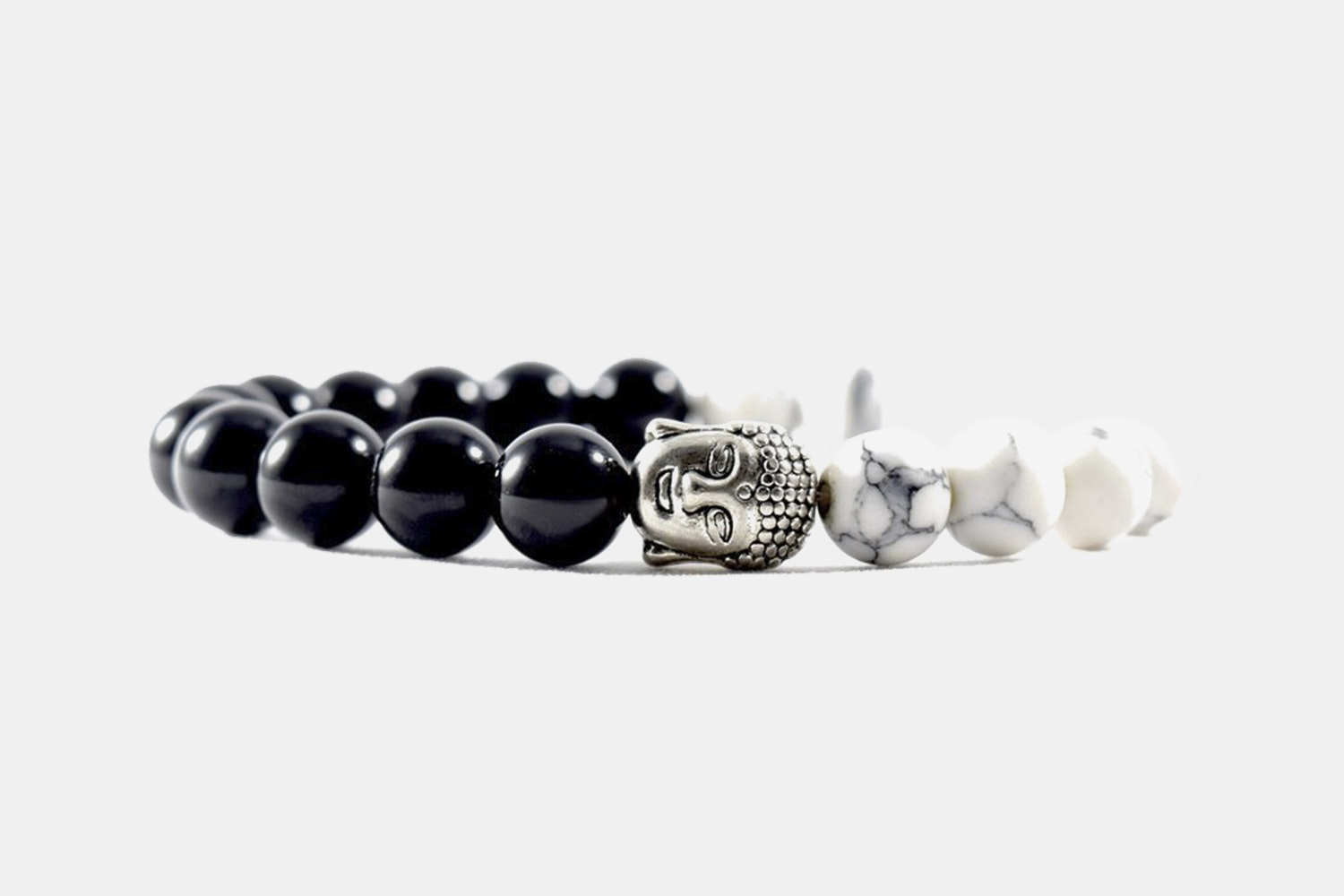 Silver Alloy Beaded Black and White Buddha
