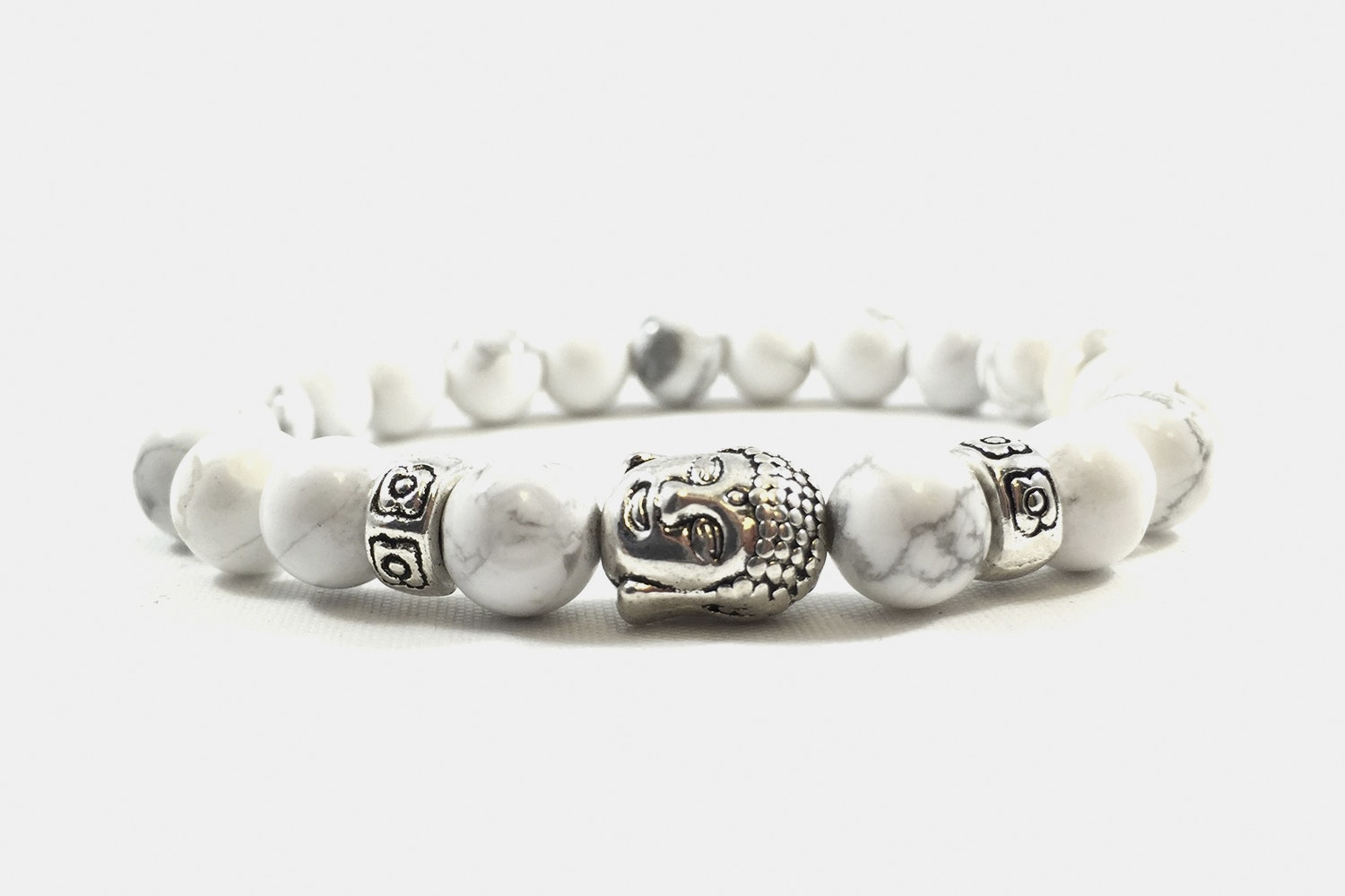 Silver Alloy Beaded White Marble Silver Buddha