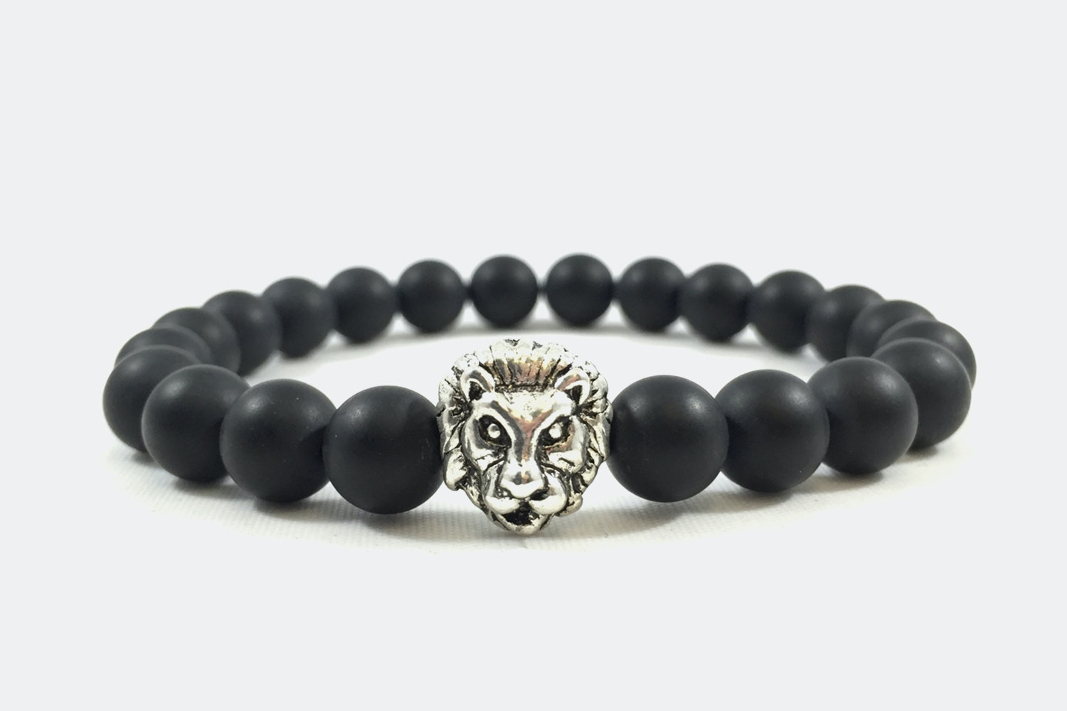 Silver Alloy Beaded – Matte Onyx Lion