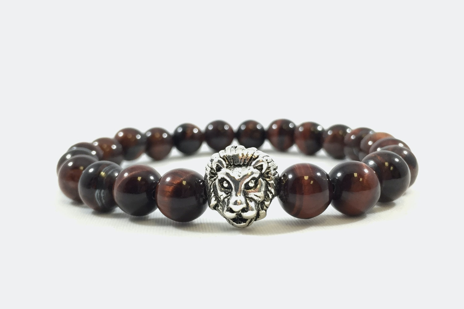 Silver Alloy Beaded – Red Tiger Eye Silver Lion