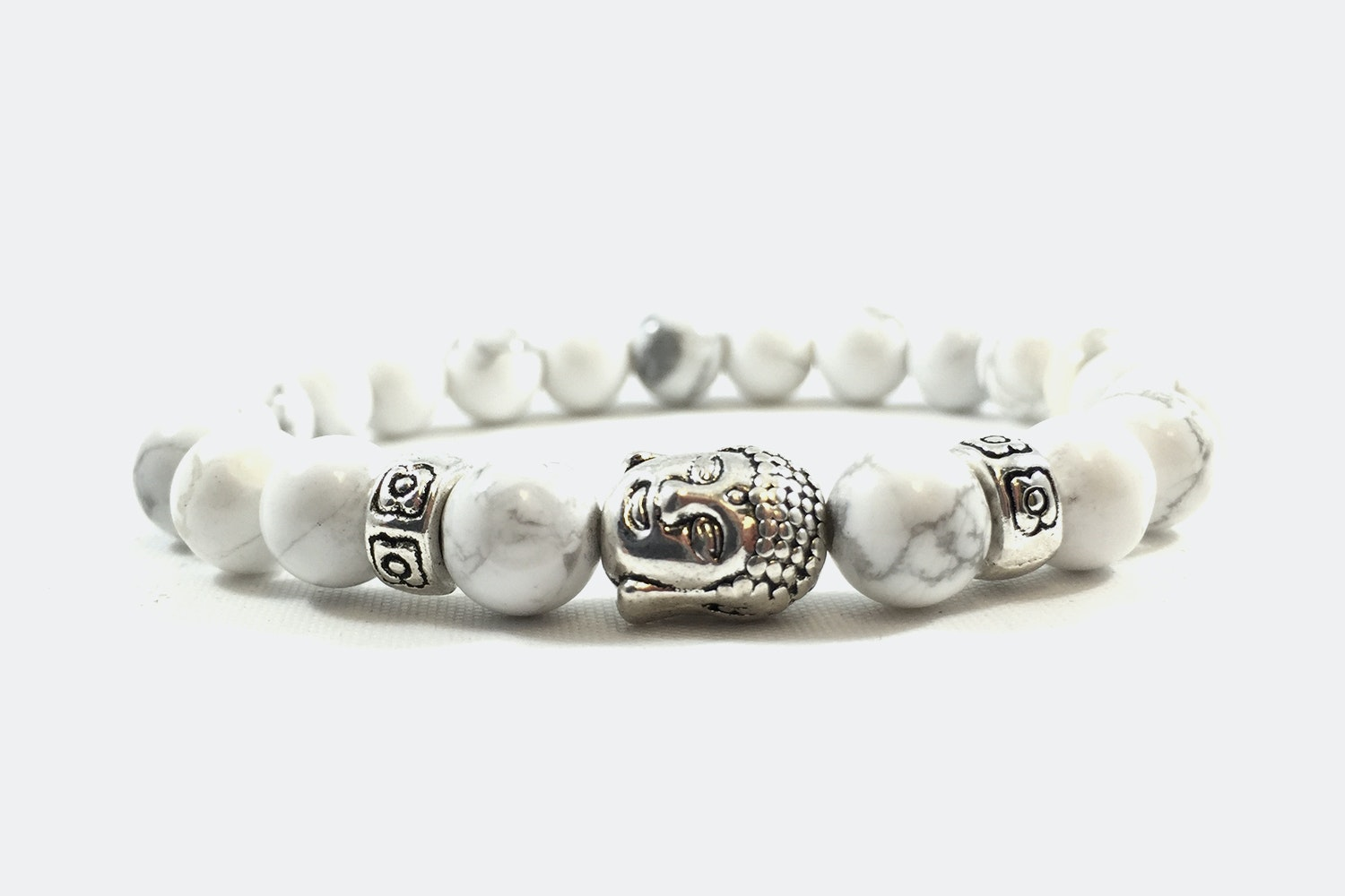 Silver Alloy Beaded – White Marble/Silver Buddha
