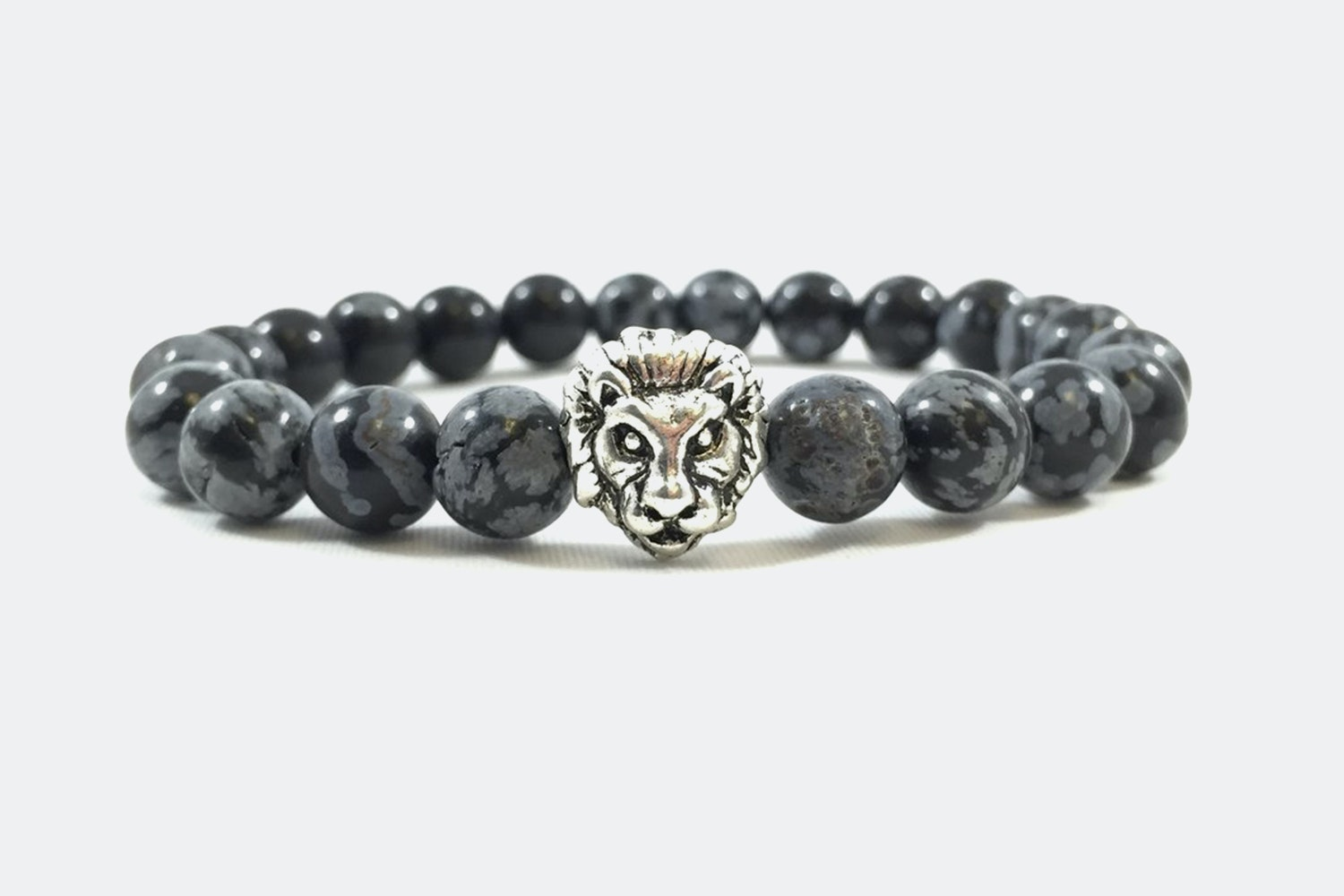 Silver Alloy Beaded – Black Snow Silver Lion