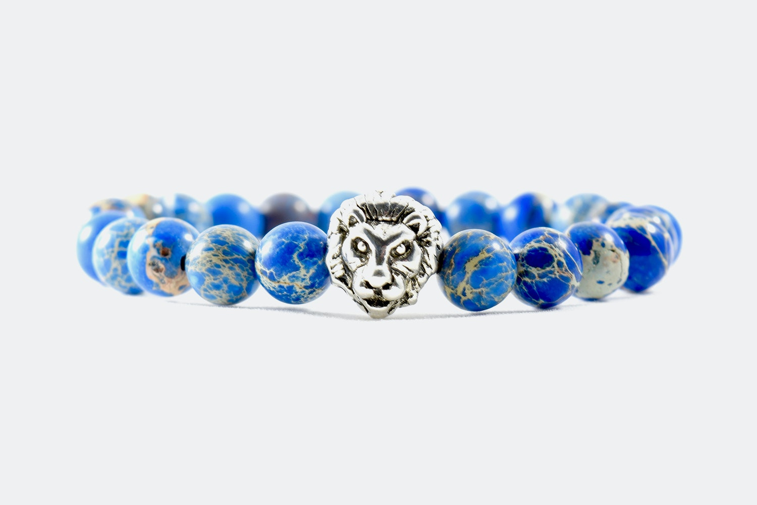 Silver Alloy Beaded – Blue Silver Lion
