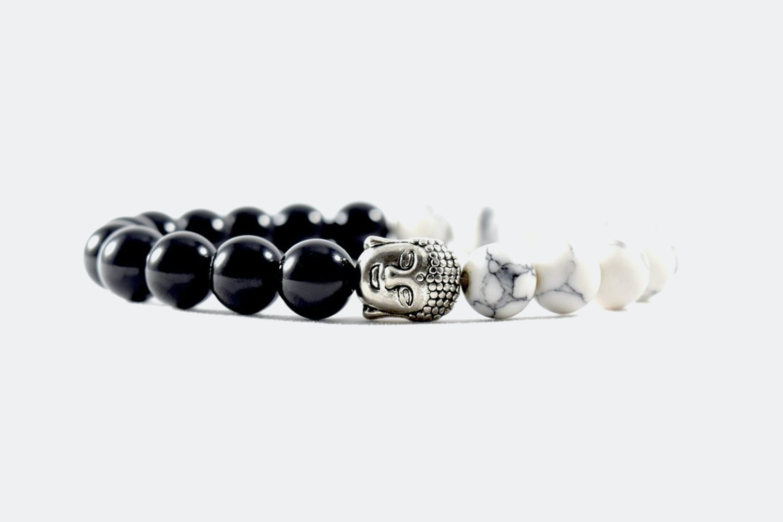 Silver Alloy Beaded – Black & White Buddha