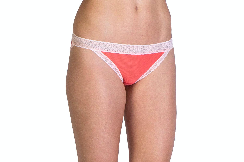 Lacy Low Rise Bikini, Hot Coral
