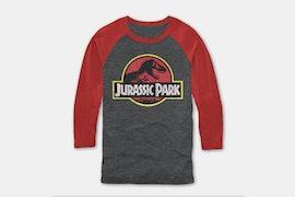 Jurassic Park Baseball Tee - Arcgr/Rust (+ $5)