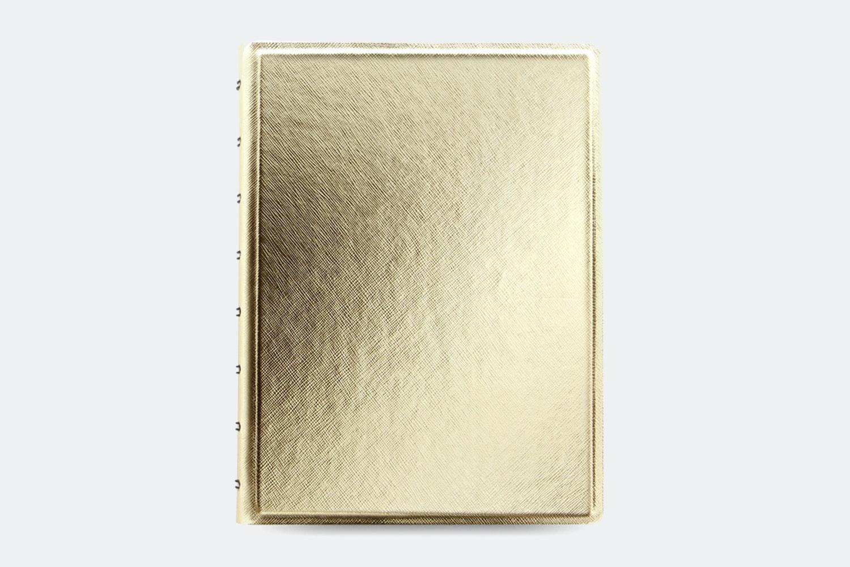 Saffiano Metallic A5 Notebook - Gold