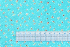 Floral Blue With white dots