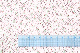 Floral White With Red dots