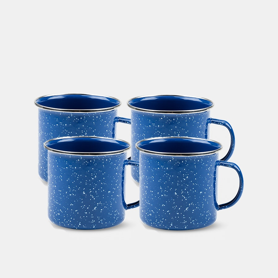 Foster & Rye Blue Enamel Mugs (Set of 4)