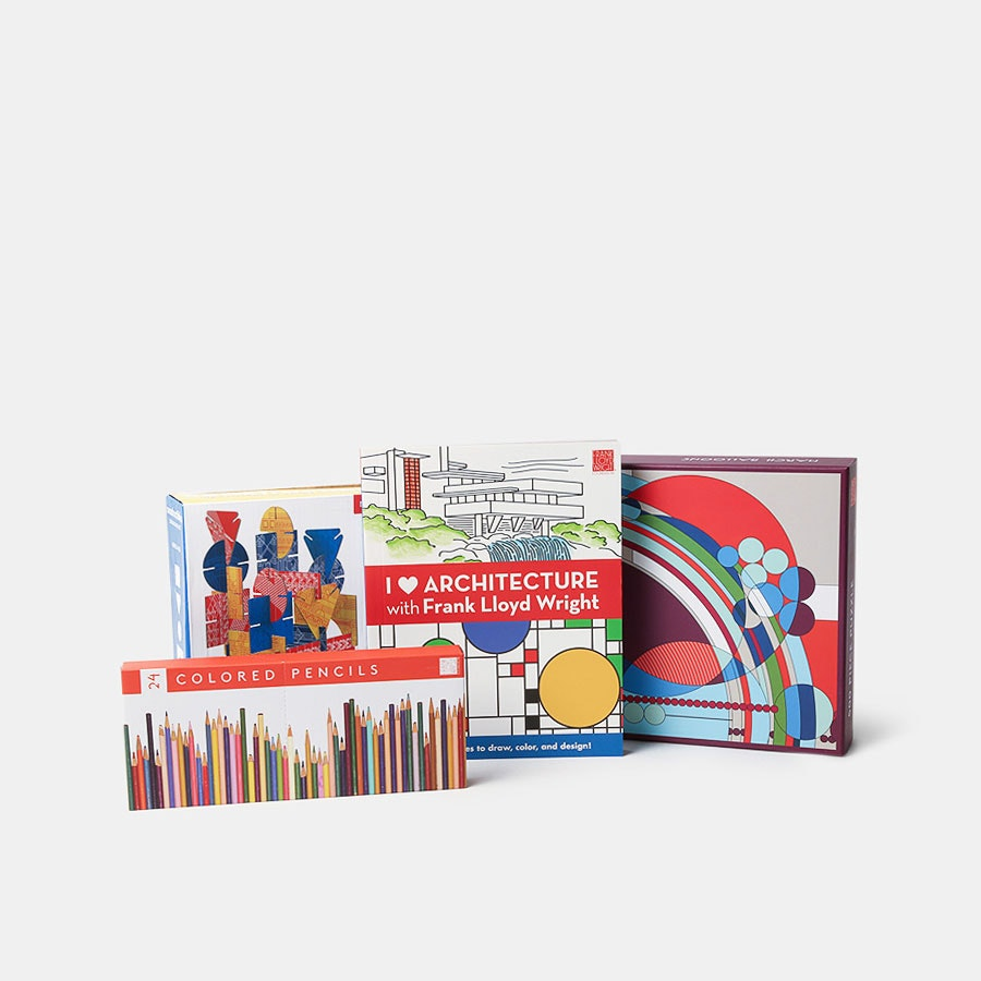 Frank Lloyd Wright Coloring Book & Puzzles Bundle
