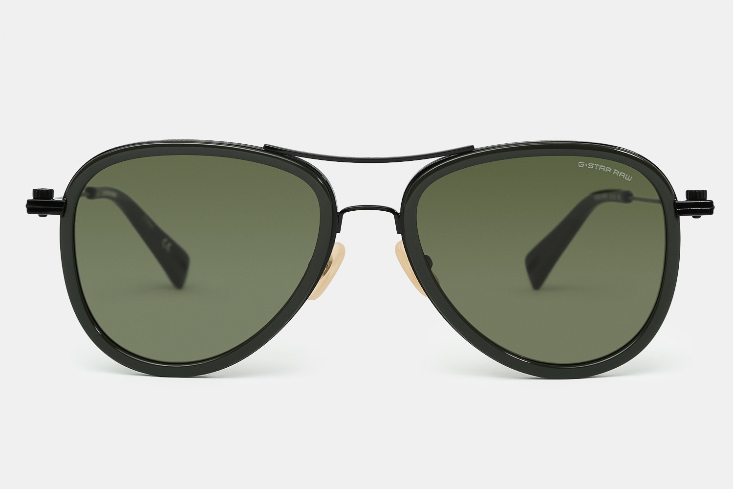 Dark olive frame with green lenses