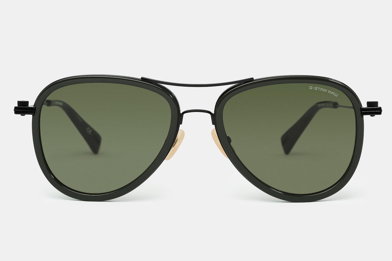 Dark olive frame with green lenses