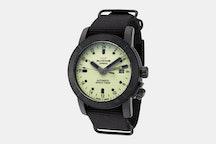 Airman 42 - GL0069 | GMT, Luminous Dial, Black PVD Case, Black NATO Strap