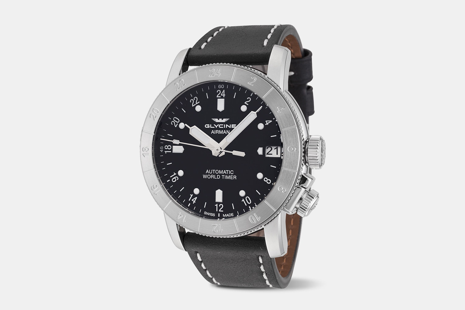 Airman 46 - GL0135 | 46 mm, Black Dial, Black Leather Strap