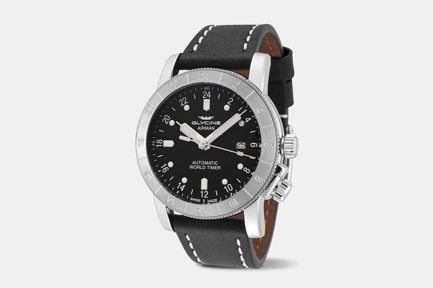 Airman 44 - GL0137 | 44 mm, Black Dial, Black Leather Strap