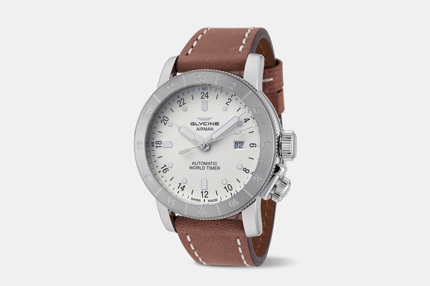 Airman 44 - GL0138 | 44 mm, White Dial, Brown Leather Strap