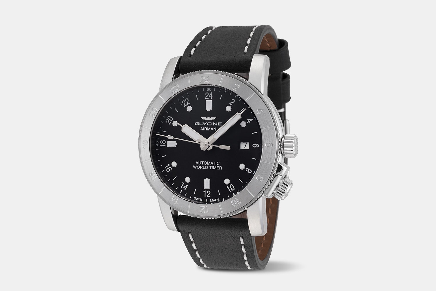 Airman 42 - GL0140 | Black Dial, Black Leather Strap