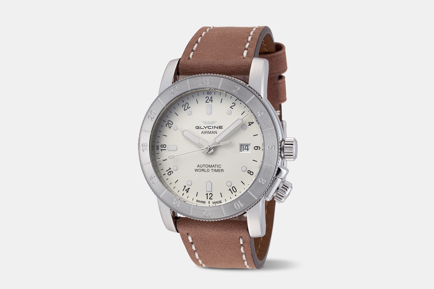 Airman 42 - GL0141 | White Dial, Brown Leather Strap
