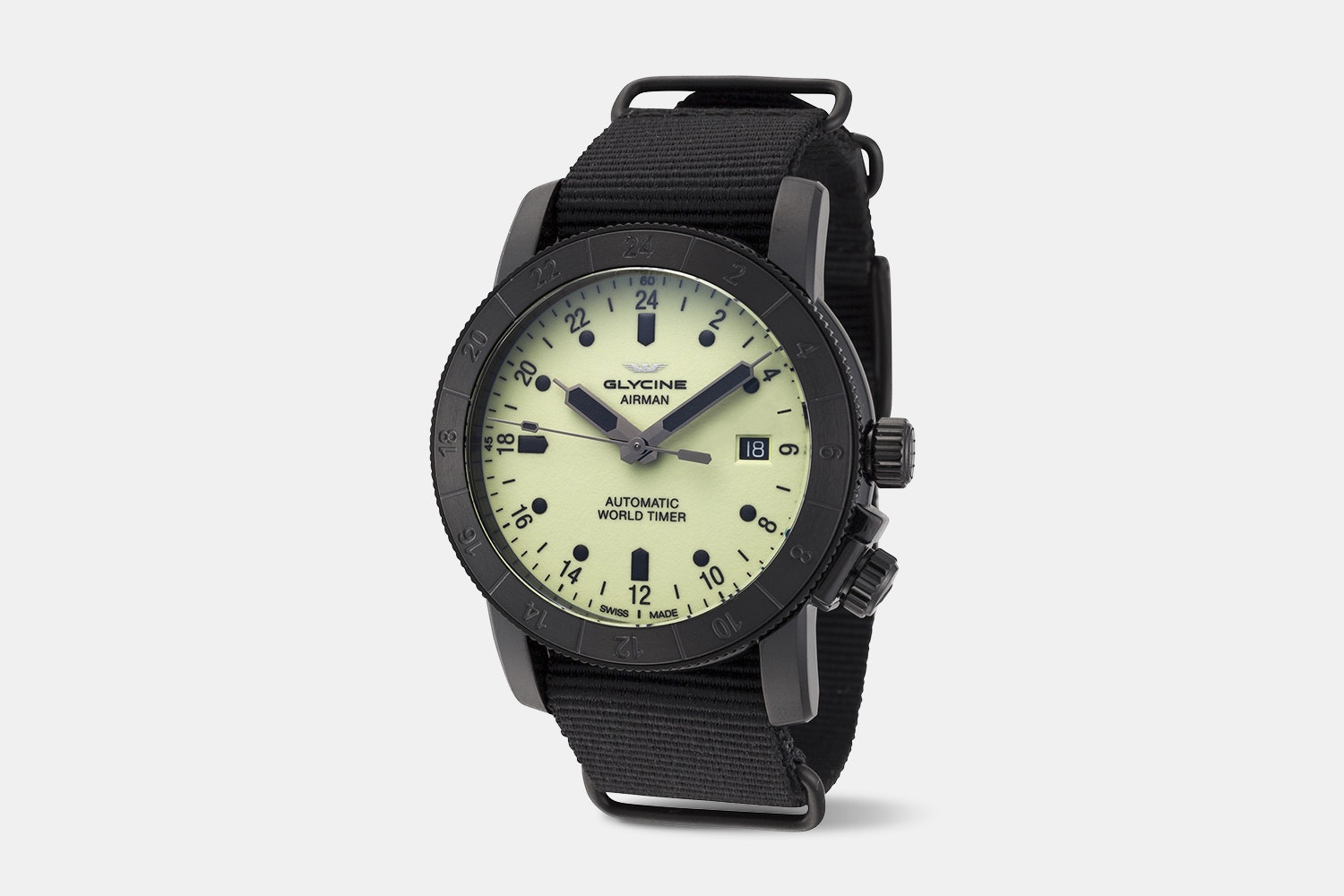 Airman 42 - GL0142 | Black Case, Luminous Dial, Black Fabric Strap