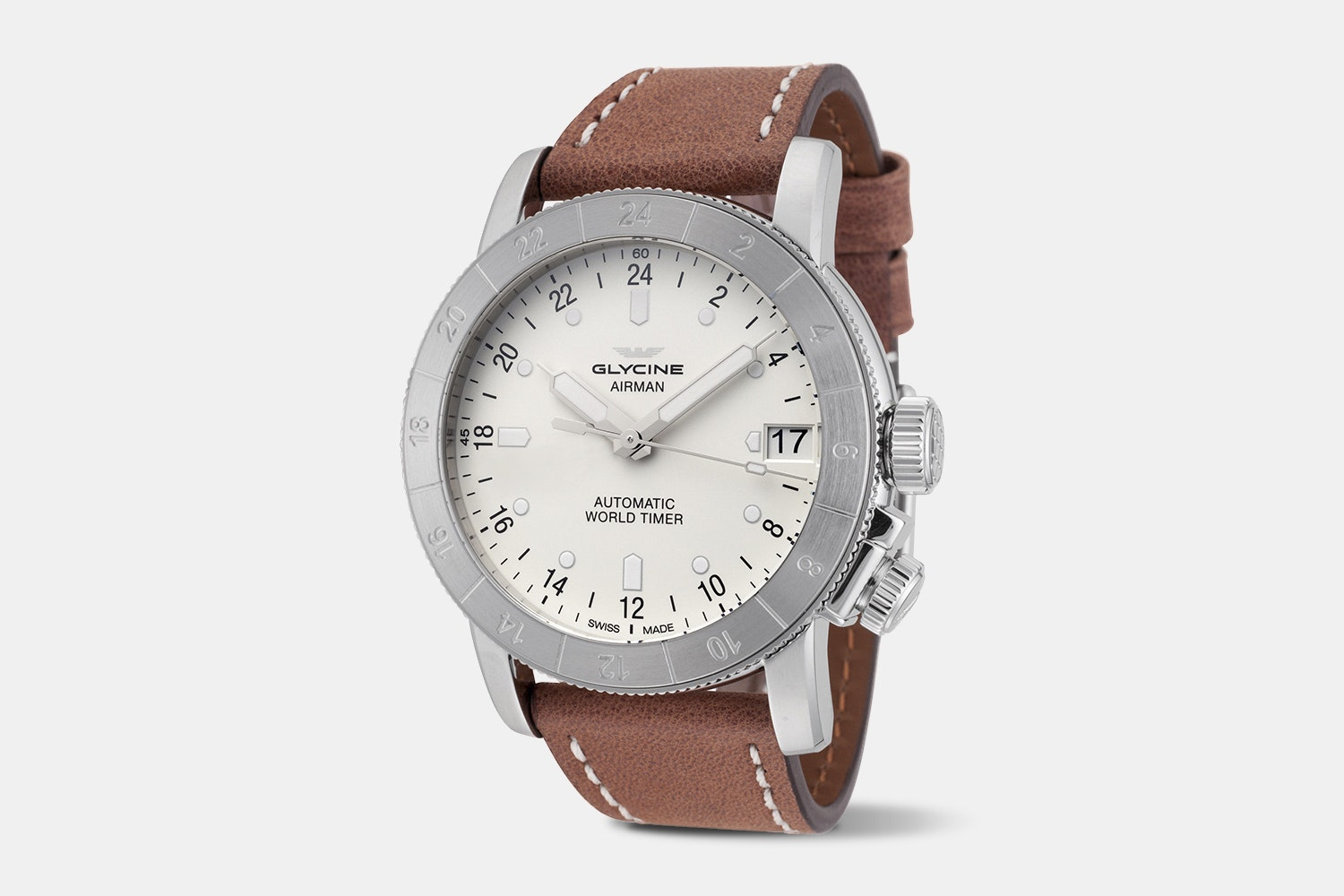 Airman 46 - GL0136 | 46 mm, White Dial, Brown Leather Strap