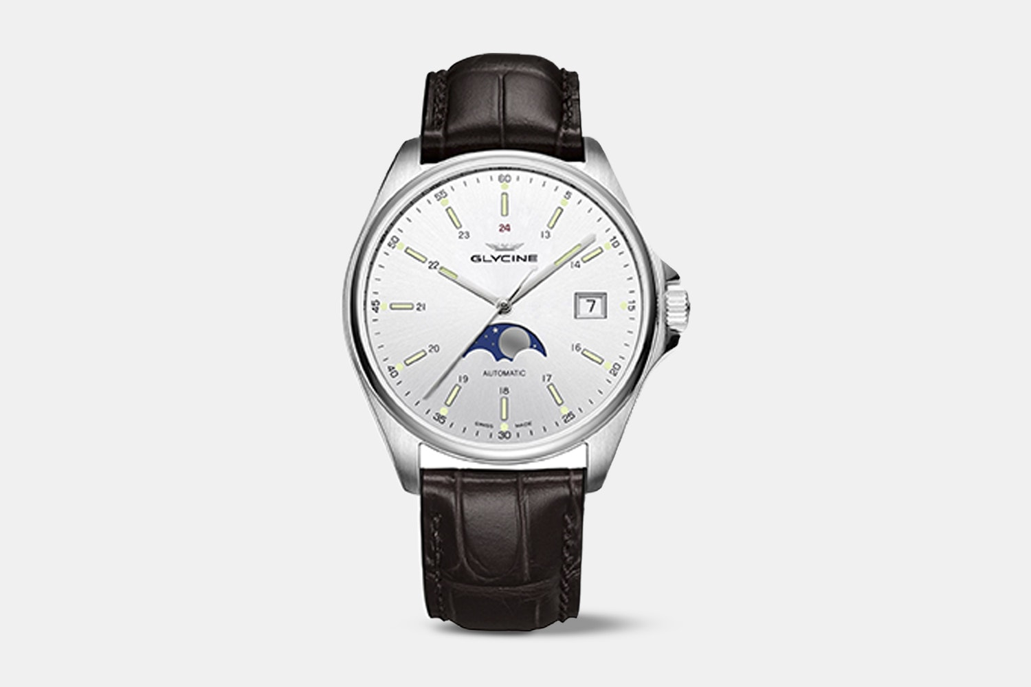 GL0115 | Silver Dial, Brown Leather Strap