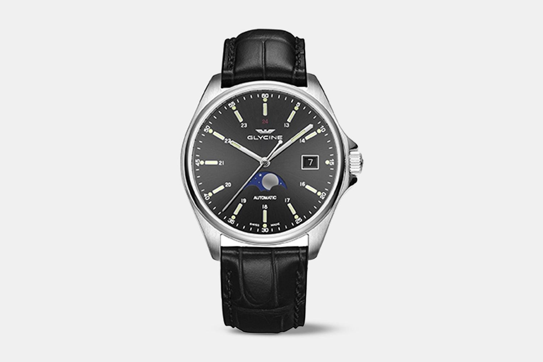 GL0116 | Black Dial, Black Leather Strap