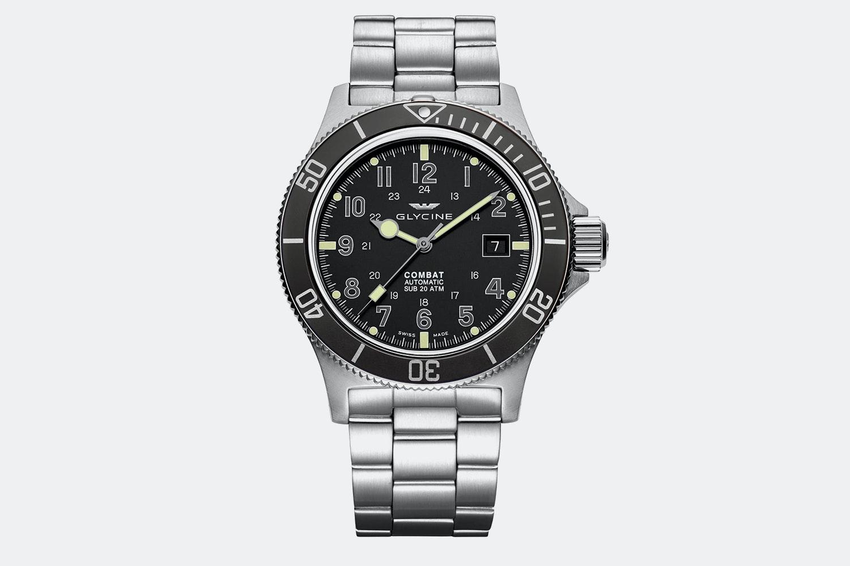GL0076 | Black Dial, Black Bezel, Stainless Steel Bracelet