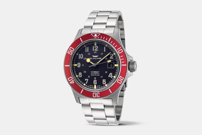 GL0078 | Black Dial, Red Bezel, Stainless Steel Bracelet