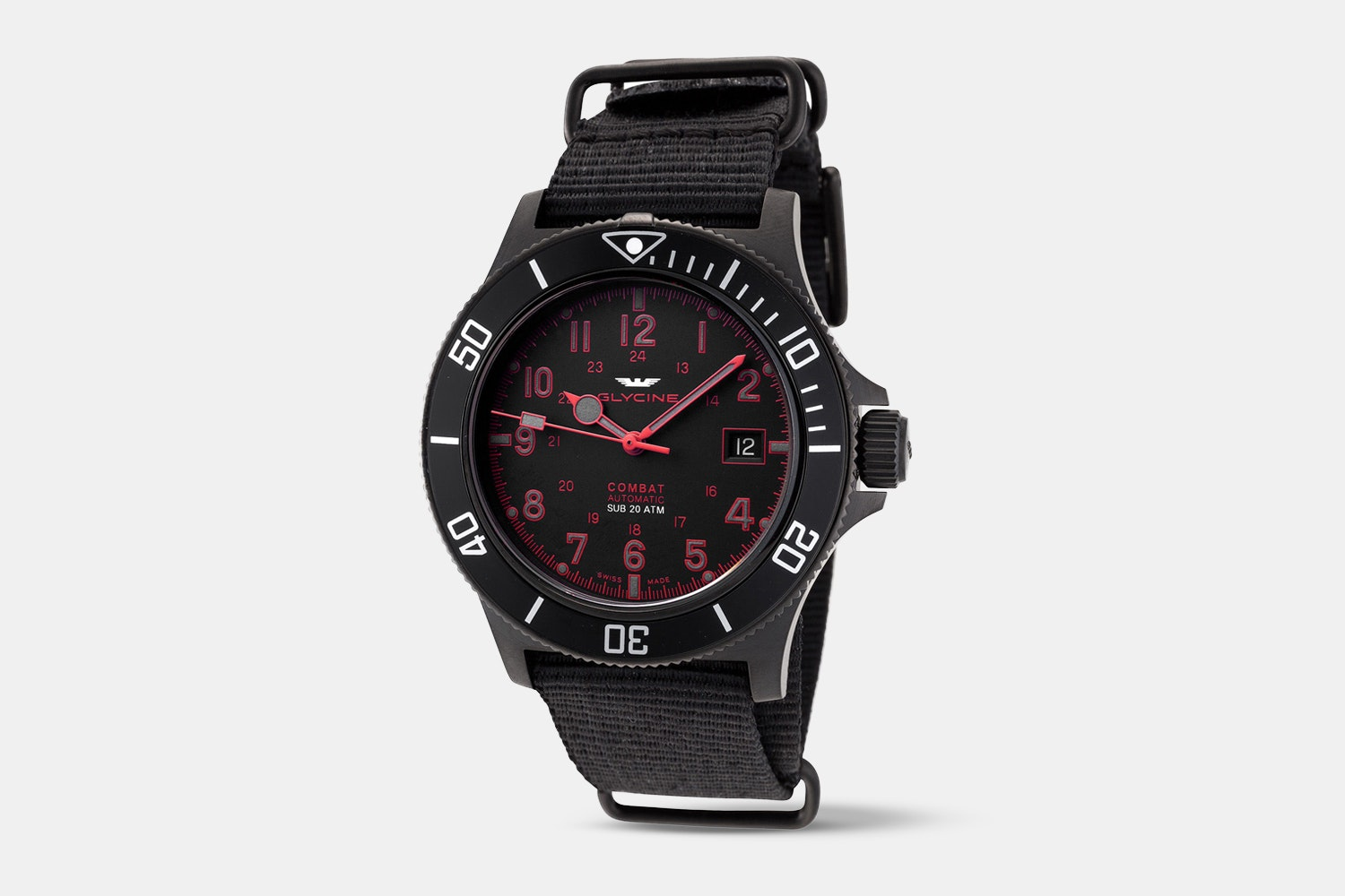 GL0085 | Black Dial, Black Bezel, Red Numerals, Black Fabric Strap