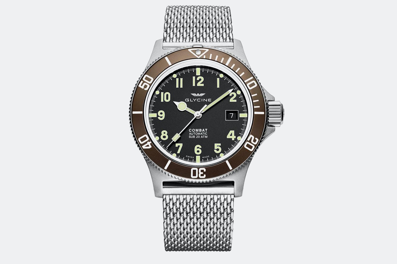 GL0090 | Black Dial, Brown Bezel, Mesh Bracelet